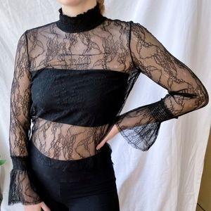 H&M Black Lace Turtleneck Long Sleeve Sheer Top